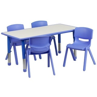 "23.625""W x 47.25""L Rectangular Blue Plastic Activity Table Set with 4 Chairs"