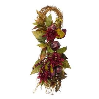 "28"" Autumn Harvest Mums with Pomegranate Autumn Grapevine Teardrop Swag - Unlit"