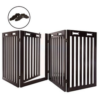 "Arf Pets Free Standing Wood Dog Gate with Walk Through Door, Expands Up to 80"" Wide, 31.5"" High"