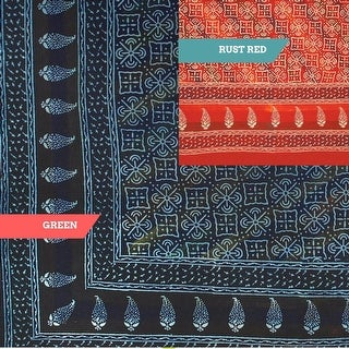 Cotton Hand Block Print Dabu Floral Tapestry Wall Hanging, Tablecloth Rectangle, Bedspread Queen