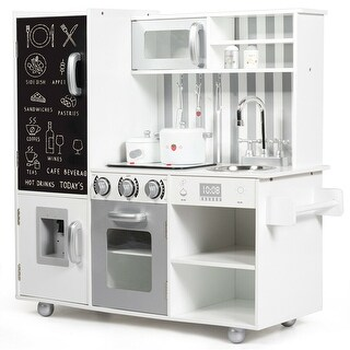 Gymax Kids Wooden Pretend Kitchen Playset Cooking Toys w/