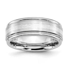 Chisel Cobalt Chromium Sterling Silver Inlay Satin/Polish 8mm Band