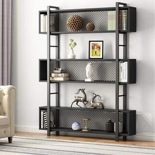 Industrial 5-Shelf Bookshelf with Metal Wire Display Shelf