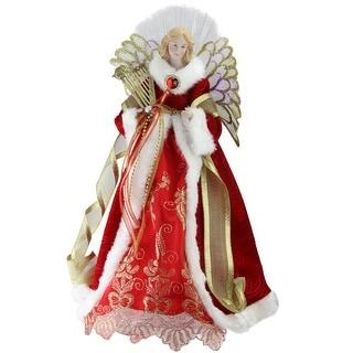"16"" Lighted Fiber Optic Angel in Garnet Red Coat with Harp Christmas Tree Topper"
