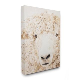 Stupell Industries Sheep Portrait Farm Animal Painting Canvas Wall Art