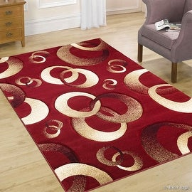 "AllStar Rugs Red WovenHand Carved Contemporary. Modern CirclesArea Rug (7' 9"" x 10' 5"")"