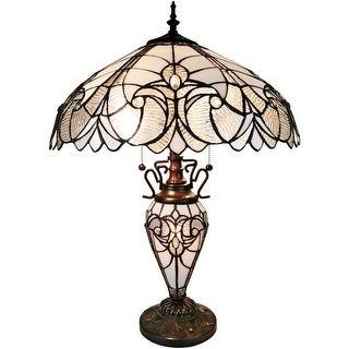Tiffany Style White Floral Double Lit Table Lamp AM203TL18B Amora Lighting