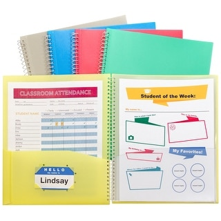 C-Line Spiral bound Poly Portfolio, 8 Pockets, Assorted Colors