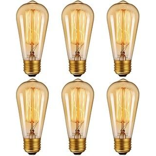 6 Pack Dimmable Industrial Edison ST64 Bulb, 2200K Amber Light