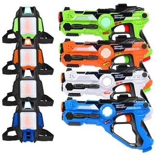 Set of 4 Laser Tag Guns Set w/ Vests LED Target Armor 4 Player Kids and Adults - as pic
