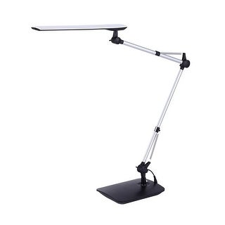 Adjustable Double Arm LED Desk Lamp, Desk or Clamp Mount, Dimmable, Touch-Activated, 4.5W, 450 Lumens, Silver/Black
