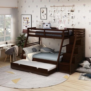 Furniture of America Moru Transitional Dark Walnut Twin/Full Bunk Bed