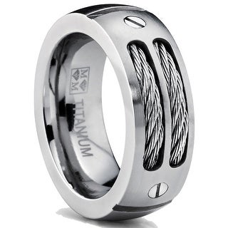 Oliveti 8MM Men's Titanium Ring Wedding Band with Stainless Steel Cables and Screw Design Sizes 7 to 13