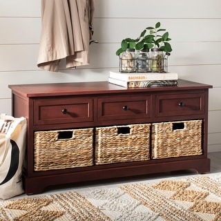 "Safavieh Damien Red 3-drawer Storage Bench - 42.1"" x 15.4"" x 19.7"""
