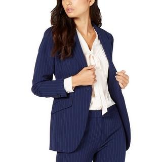 Anne Klein Womens One-Button Blazer Office Pinstripe