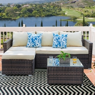 Patio Furniture 3 Piece Sectional Sofa - Resin Wicker, Beige