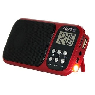 Boytone BT-92R FM Clock Radio Alarm, Built-in Speaker, Rechargeable Batteries, Headphone, LCD Tuning /USB, SD slot, AUX, Light