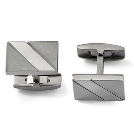 Chisel Brushed and Polished Titanium Cuff Links