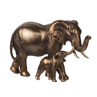 """12"""" Brown Metallic Vintage Mother and Baby Elephant Figurine Statue"""