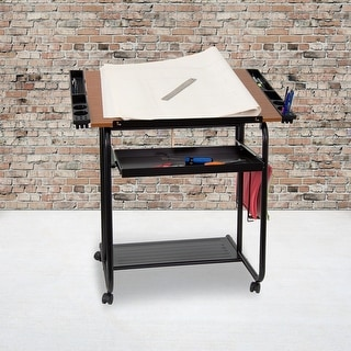 "Adjustable Drawing and Drafting Table with Black Frame and Dual Wheel Casters - 35.25""W x 23.75""D x 31.25""H"