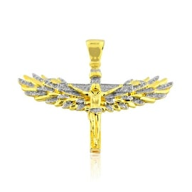 10K Yellow Gold Fancy Cross Pendant Crucifix with Angel Wings 35mm Tall 1/4cttw Diamond