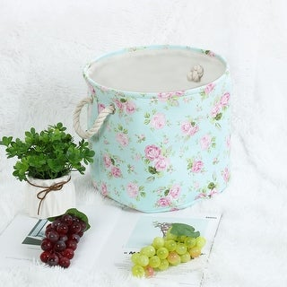 "Linen Fabric Storage Bin Toy Box Basket Organizer - Pink Floral - 13"" x 9.8"""