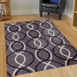 "AllStar Grey Hand Made Modern TransitionalLinear Design Area Rug with Dimensional Hand-Carving Highlights (4' 11"" x 6' 11"")"