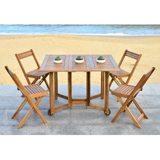 Safavieh Arvin Finish Brown Acacia Wood 5-piece Outdoor Dining Table Set