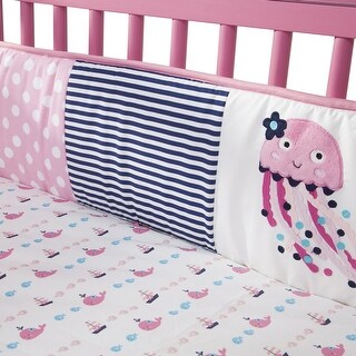 Lambs & Ivy Splish Splash Pink/Navy/White Nautical Ocean Theme 4-Piece Baby Crib Bumper