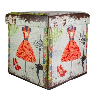 """15"""" Decorative Vintage Dress and Fashion Collapsible Wooden Storage Ottoman"""