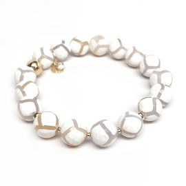 "Julieta Jewelry - 14k Gold Over Sterling Silver 10mm White Agate, Gold Hematite 'Triple Station' 7"" Stretch Bracelet"
