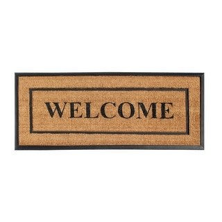 "A1HC- Designer Hand-Crafted Rubber & Coir Frame Molded Double Door Mat, Perfect and more functional size 24x57 Inch - 24""X57"""