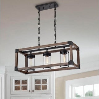 Daniela 3-light Antique Black Metal and Natural Wood Glass Chandelier - 29.5 inches L x 10.8 inches W x 51.2 inches H
