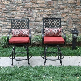 Teluk Outdoor Extra Wide Swivel Bar Stools (Set of 2) by Havenside Home