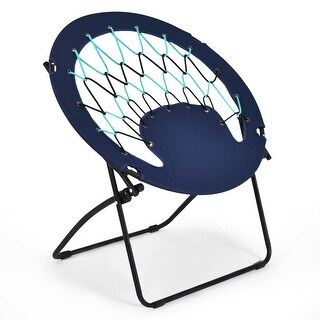 Costway Folding Round Bungee Chair Steel Frame Outdoor Camping Hiking Garden Patio - Blue