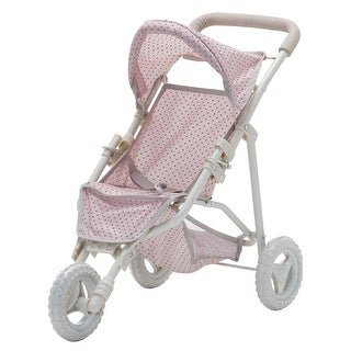 Olivia's Little World - Polka Dots Princess Baby Doll Jogging Stroller - Pink & Grey - 24 x 13 x 21.26