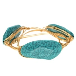 Wire Wrapped Bangle Bracelets, Set of 3, Turquoise Acrylic and Gold, Exclusive Beadaholique Jewelry Kit