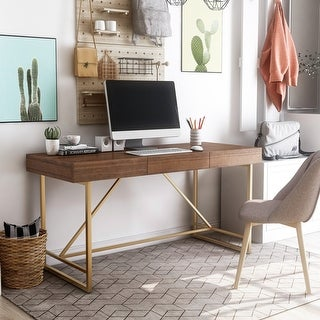 Furniture of America Vaiz Contemporary Walnut 60-inch 2-drawer Desk