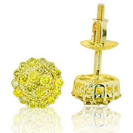 7mm Round Diamond Cluster Earrings Yellow Diamonds 10K gold 0.46ctw