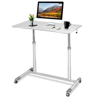 Costway Height Adjustable Computer Desk Sit-Stand Rolling Notebook
