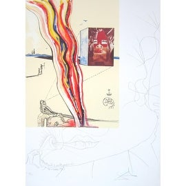Liquid and GaseousTelevision, Mixed Media, Lithograph and Collage, Dali