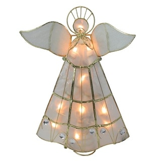 10 Lighted Gold Capiz Angel Trumpeter Christmas Tree Topper - Clear Lights