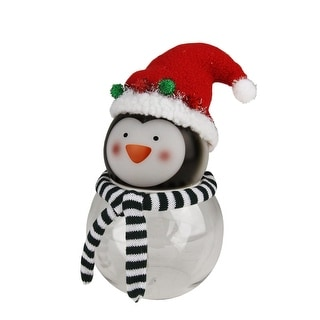 """8.5"""" Battery Operated Penguin Touch Activated Color Changing LED Lighted Glass Candy Jar - Green"""