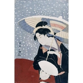 A Manservant Clearing The Geta Of A Beauty On A Winters Day by Eishosai Choki Figures Art Print