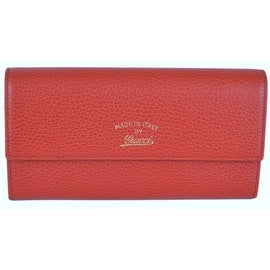 NEW Gucci Women's 3354496 Red Leather Trademark Logo Swing Continental Wallet