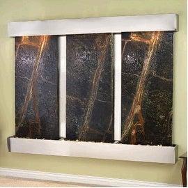 Adagio Deep Creek Falls Wall Fountain Rainforest Green Marble Stainless Steel -