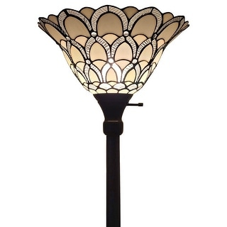 "Tiffany Style 69"" Jeweled Peacock Floor Torchiere Lamp Amora AM071FL14"