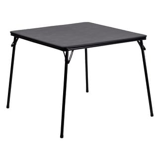 Black Folding Card Table with Vinyl Upholstered Table Top - Game Table