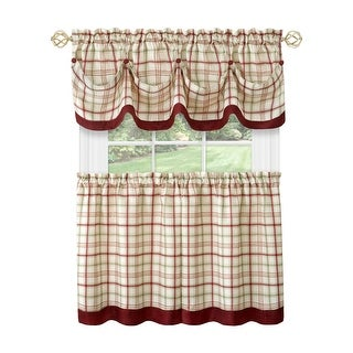 Tattersall Window Curtain Tier Pair and Valance Set