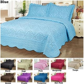 3 PCS Queen King Purple Green Blue Pink Taupe Brown Purple Bedspread Quilted High Quality Bed Cover Embroidery Quilt